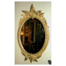 Victorian Gilt Mirror with Ferns & Flowers, England c. 1860