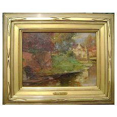 Percy W.I. Buckman Oil Painting Landscape English River Scene