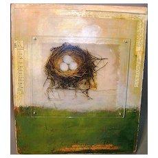 "Jessie Pollock Mixed Media ""Spring #2"" with Bird's Nest"