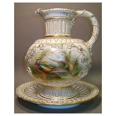 Continental Pitcher and Undertray - gilded with birds