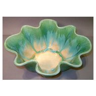 "Fulper Green and Blue Drip Glaze 5"" Large Fluted Dish"