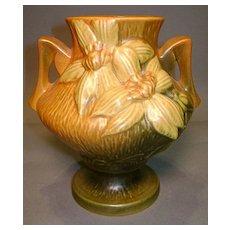 "Roseville Clematis Vase 188-6"" Rare Brown"