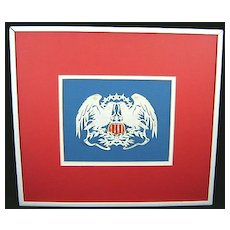 Scherenschnitte Eagles with Shield in Red, White & Blue