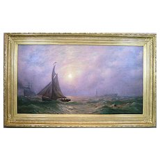 "James L. Weston Oil Painting Marine Scene ""Pilot Boat #4"""