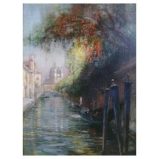 Walter Francis Brown Oil Painting of Venice Canal Scene