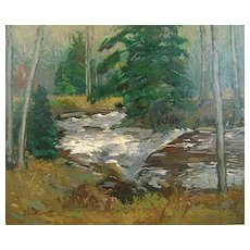 "Donald Blagge Barton Oil Painting ""Woodland Forest"" Landscape"