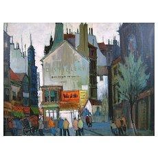 "Elmer P. Schwab Oil Painting City Scene ""Paris Sunset"" 1957"
