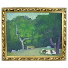Donald Blagge Barton Oil Painting of Landscape with Cows
