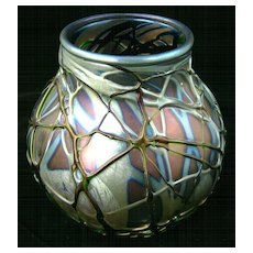 Charles Lotton Art Glass Iridescent Vase, signed 1990