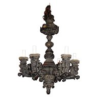 Early 20th c. Baroque Revival Carved Wooden Chandelier Mizner