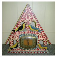 Folk Art Painted Bird House Clock Ingraham Alarm Clock 1940