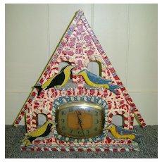 Folk Art Painted Bird House Clock Ingraham Alarm Clock 1940