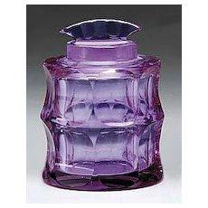 Moser Alexandrite Glass Covered Jar, signed