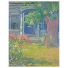 Clara D. Simpson Davidson Oil Painting of Flower Walkway