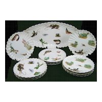 Lewis Strauss & Sons Carlsbad Porcelain Fish Platter & 11 Plates