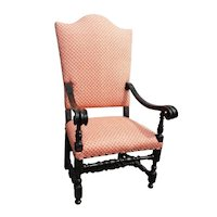 19th c. Italian Baroque Style Chair with Fortuny Fabric