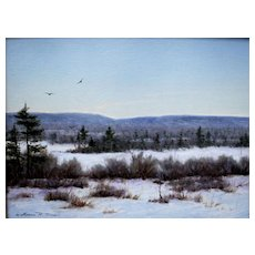 "William R. Davis Oil Painting ""Frozen Marsh, Freedom, N.H."""
