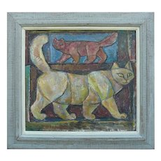 "Emanuel Romano Oil Painting ""Two Cats"" 1958"