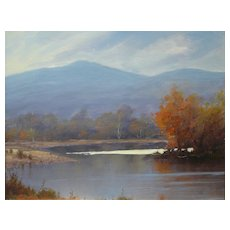 "William R. Davis Oil Painting ""Bend on the Saco River"" NH"
