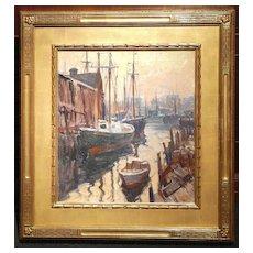 Emile Albert Gruppe Oil Painting Boats Docked in Harbor