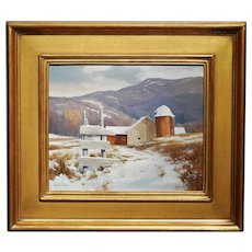 Gerald L. Lubeck Oil Painting Farm Landscape with Weathered Fence