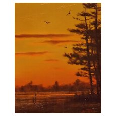 William R. Davis Oil Painting Hampton Marsh Sunset NH