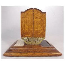 19th c. English Oak & Brass Cribbage Board & Card Case