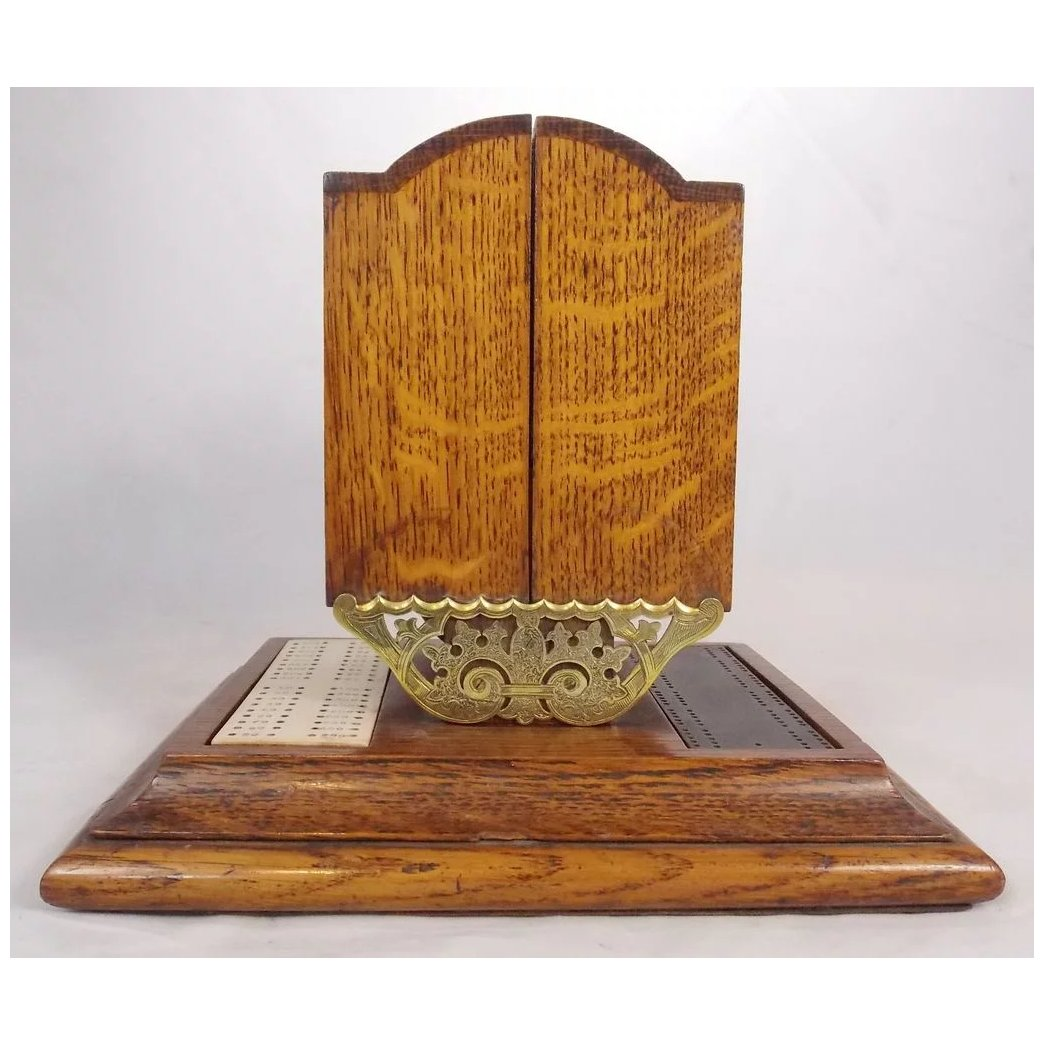 19th C English Oak Brass Cribbage Board Card Case New Hampshire Antique Co Op Ruby Lane