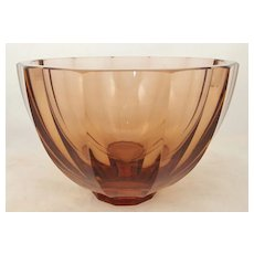 "Moser 6-1/2"" Amber Faceted Glass Bowl c. 1920"