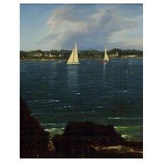 "William R. Davis Oil Painting ""Yachts Racing off Jamestown, RI"""