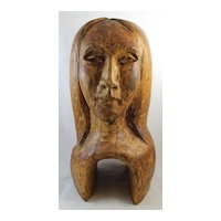 Newel Post Finial Large Carved Wood Woman's Head