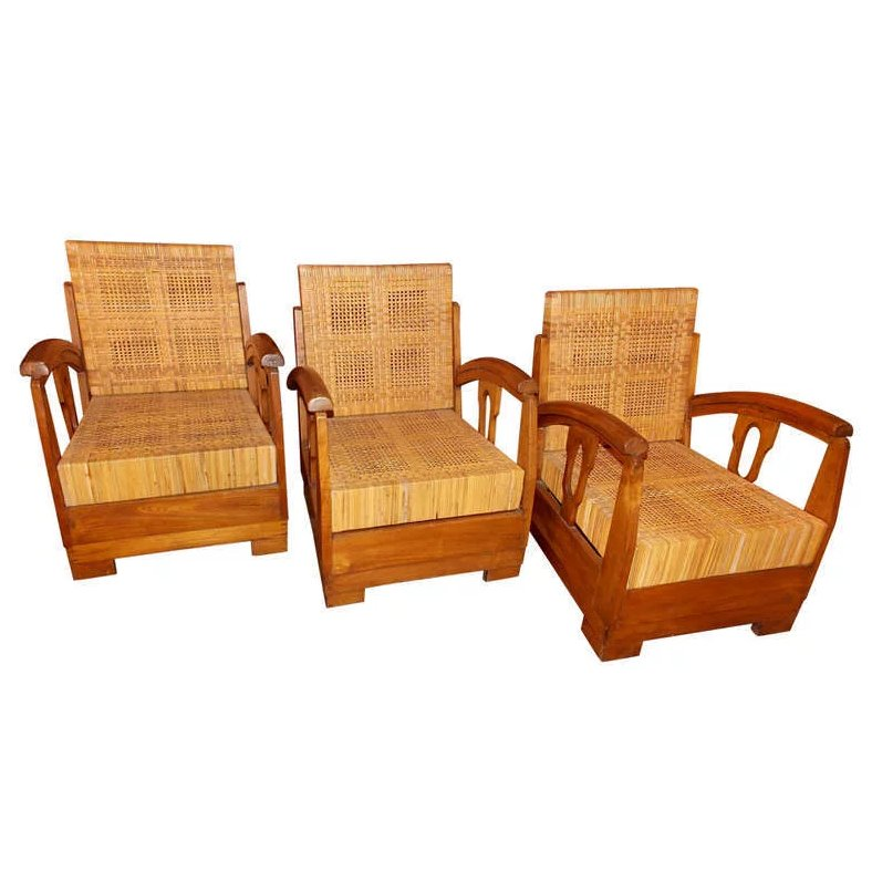 Three 1930 S French Lounge Chairs In The Style Of Francis