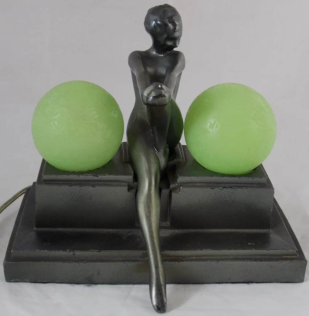 Frankart Art Deco Nude Woman Lamp With Frosted Globes -5386