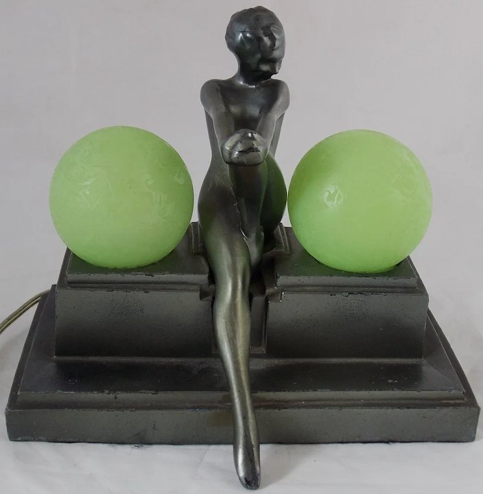 Frankart Art Deco Nude Woman Lamp with Frosted Globes from
