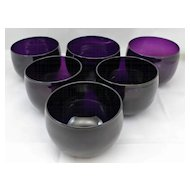 19th c. Amethyst Glass Finger Bowls, Set of 6