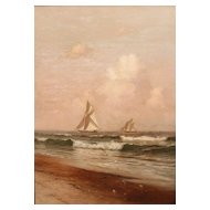 "Warren W. Sheppard Oil Painting Ships ""Racing"""