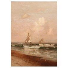 """Warren W. Sheppard Oil Painting Ships """"Racing"""""""