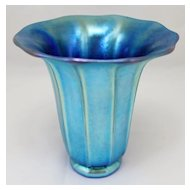 Steuben Blue Aurene Shade-Shaped Art Glass Vase, signed