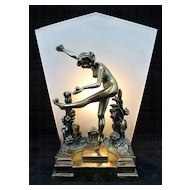Pompeian Bronze Art Deco Lamp Nude Woman Dancing in Flowers
