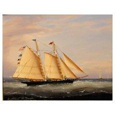 "William R. Davis Marine Oil Painting ""Catching a Fair Wind"""