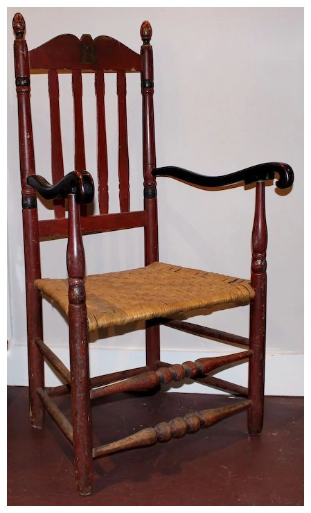 Spindle Chair with Red Paint c. 1900 - Spindle Chair With Red Paint C. 1900 : New Hampshire Antique Co-op
