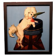 20th c  Victorian Style Mounted Dummy Board Dog with Parasol