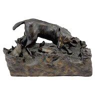 Barbara Faucher Signed Bronze Sculpture Wolf Chasing Rabbits NH