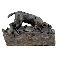 Barbara Faucher Signed Bronze Sculpture Wolf Chasing Rabbits NH