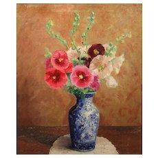 Randall Vernon Davey Oil Painting Still Life Flowers in  Blue Vase