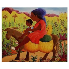 Jean Rene Chery Haitian Oil Painting of Mother and Child on Donkey