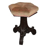 19th c Gothic Revival Upholstered Piano Stool