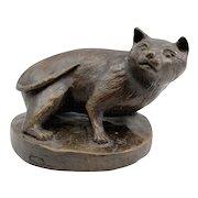 Barbara Faucher Signed Bronze Sculpture of a Crouching Cat NH