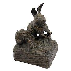 Barbara Faucher Signed Bronze Rabbit Sculpture NH