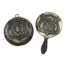 19th c Silver Plate Miniature Souvenir Powder & Mirror Set with State of Maine Seal